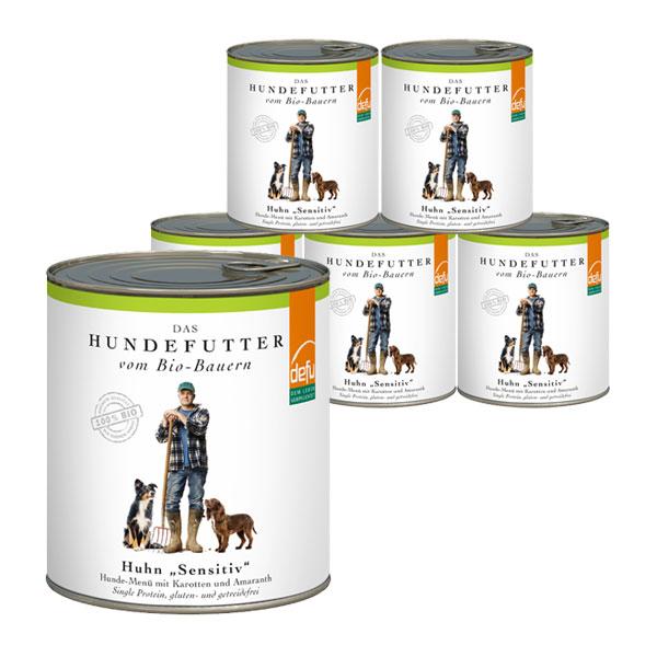 Defu Hundefutter Bio Huhn Gluten- & Getreidefrei 6x820g