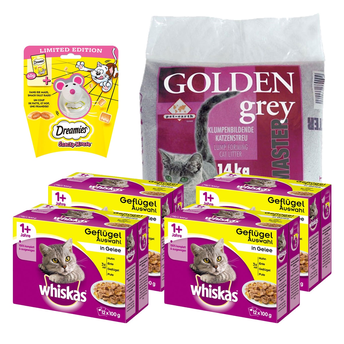 sparpack whiskas katzenfutter golden grey katzenstreu dreamies katzensnack. Black Bedroom Furniture Sets. Home Design Ideas