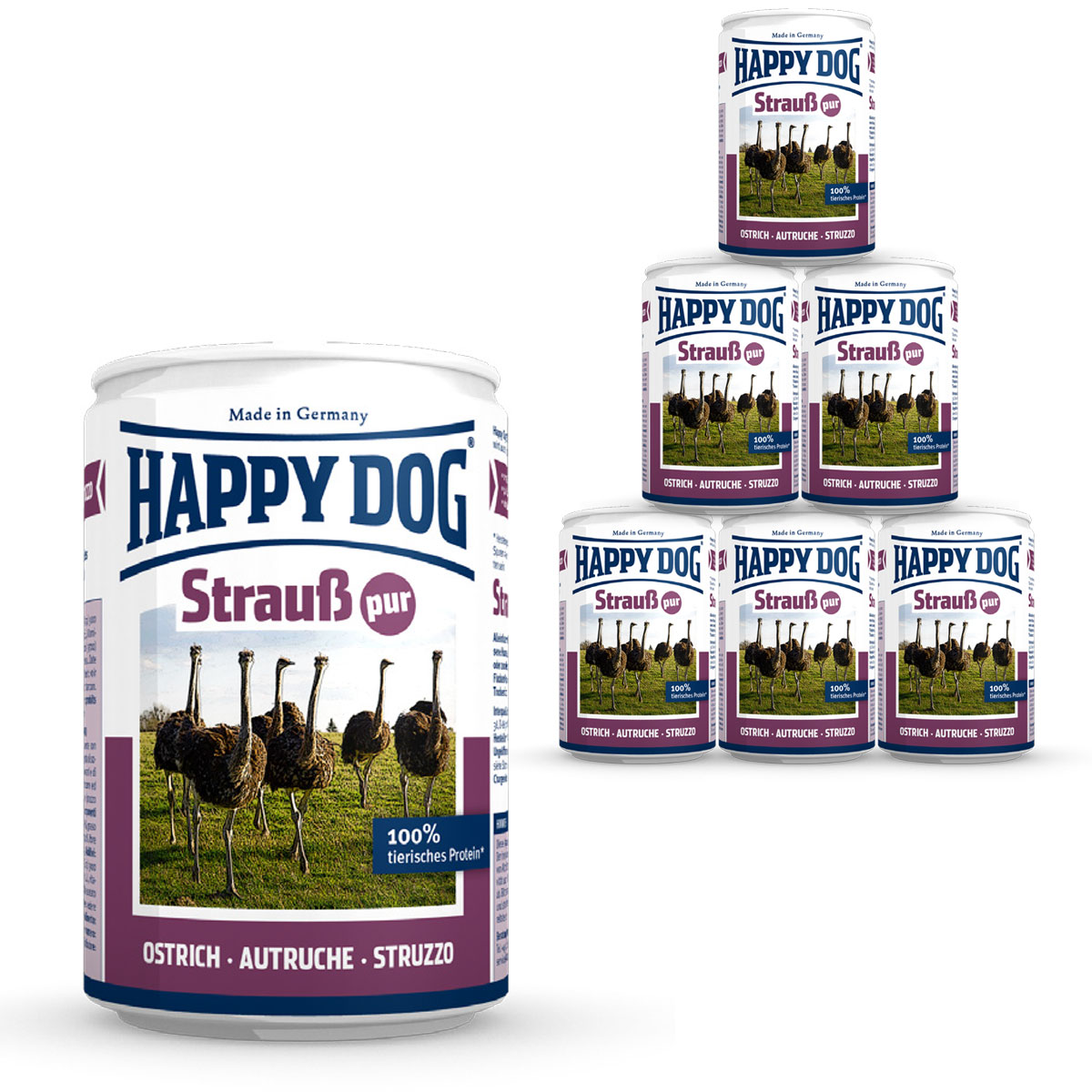 happy dog hundefutter strau pur 12x400g kaufen bei zooroyal. Black Bedroom Furniture Sets. Home Design Ideas
