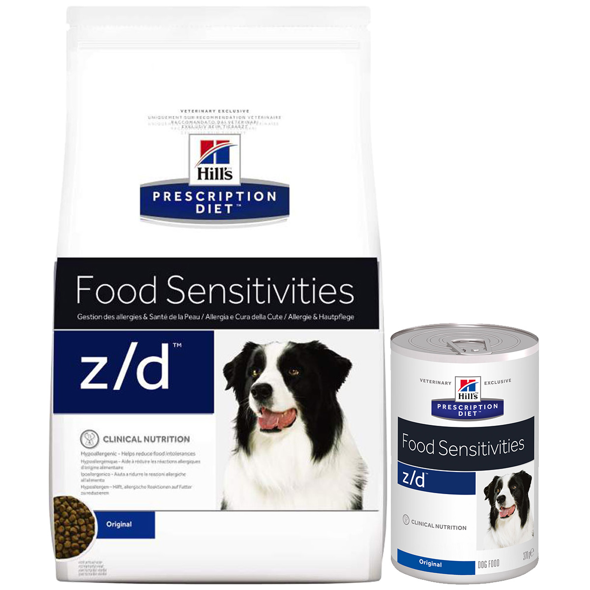 hill 39 s prescription diet z d food sensitivities hundefutter mit huhn 10kg 12x370g mixpaket. Black Bedroom Furniture Sets. Home Design Ideas