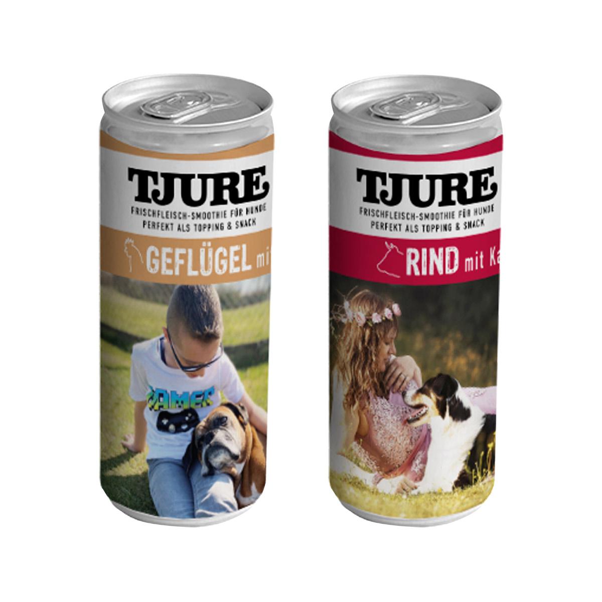 TJURE Fleisch-Smoothie für Hunde 3 x Geflügel 3 x Rind