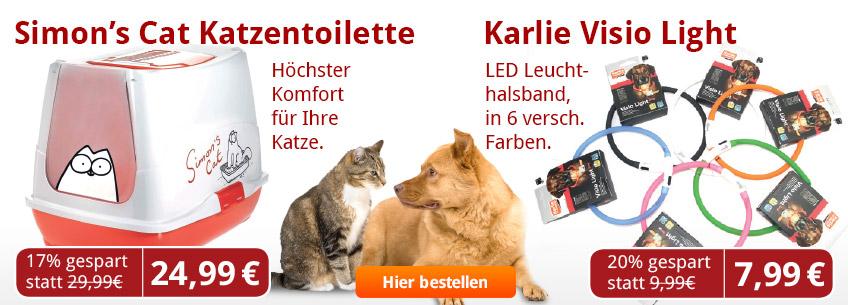 Jetzt das große Aus der Werbung: Simon's Cat Katzenklo und Karli Visio Light LED Halsbänder jeweils zum Aktionspreis.mit Trockenfutter, Nassfutter und Infomaterial testen.