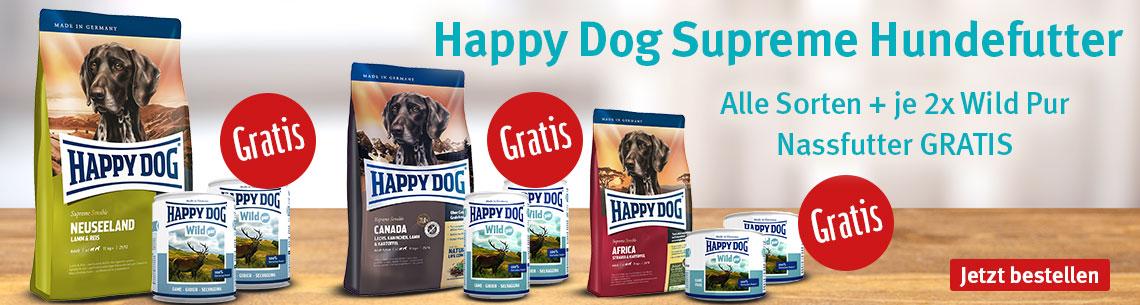 Happy Dog mit gratis Nassfutter