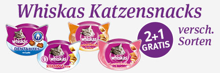 Whiskas Snacks 2 plus 1 gratis