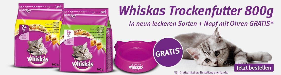 Whiskas 800g Trockenfutter mit Futternapf gratis