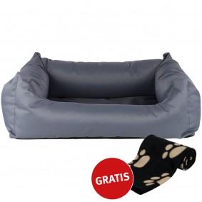 ZooRoyal Hundebett Noah grau 80x65cm + Trixie Fleecedecke Barney 150x100 cm schwarz