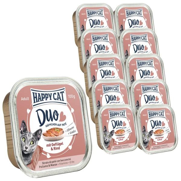 Happy Cat Paté auf Häppchen Geflügel & Rind 12x100g