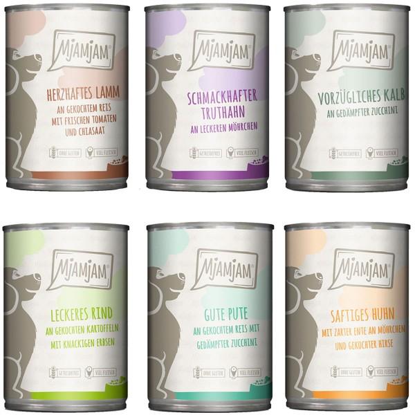 MjAMjAM Mixpaket II mit Huhn&Ente, Rind, Pute, Kalb, Truthahn, Lamm 6x400g