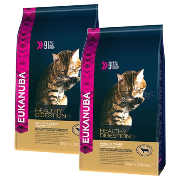 Eukanuba Katzenfutter Healthy Digestion Adult Lamm 2x4kg