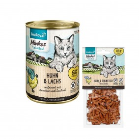 ZooRoyal Minkas Naturkost Huhn & Lachs 12x400g + Mini Sticks Huhn & Thunfisch 50g gratis