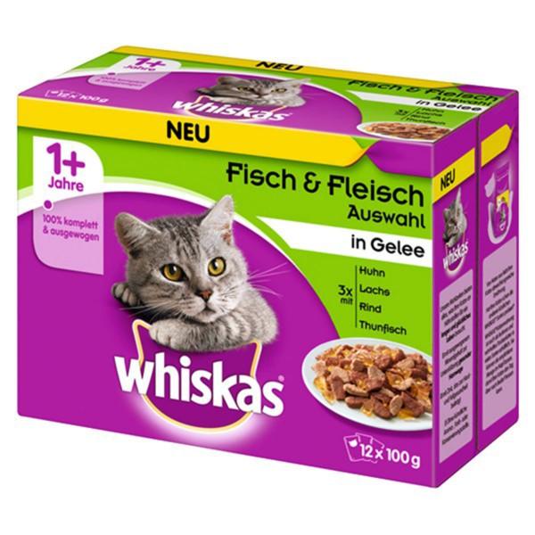 Whiskas 12er Multipack 1+ Fisch & Fleischauswahl in Gelee 12x100g