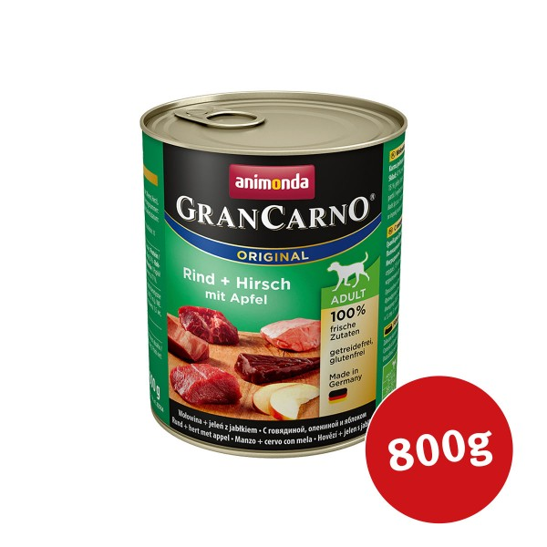 Animonda Hunde-Nassfutter GranCarno Adult Rind und Hirsch mit Äpfeln - 800g