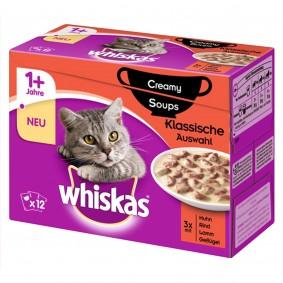 Whiskas 12er Multipack 1+ Creamy Soups Klassische Auswahl 12x85g