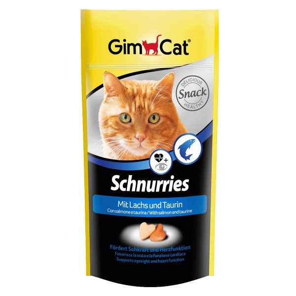 GimCat Katzensnacks Schnurries Lachs und Taurin 40g