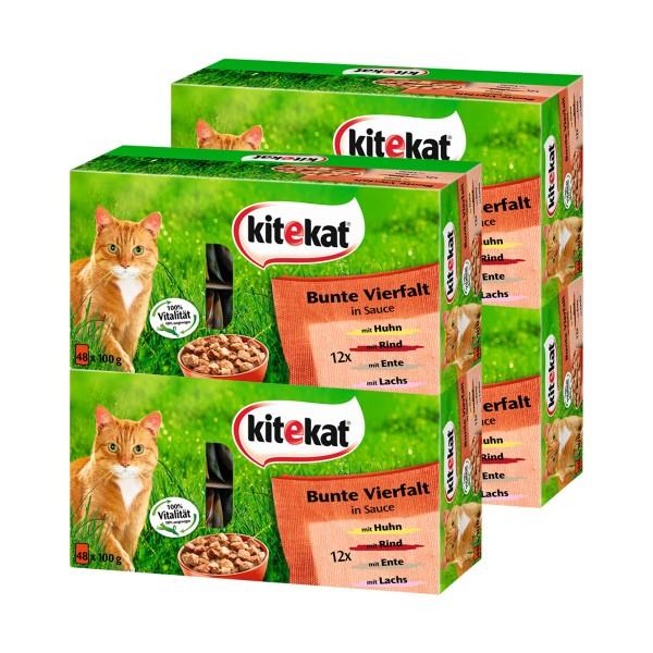 Kitekat Katzenfutter Bunte Vierfalt in Sauce Mega-Multipack 192x100g