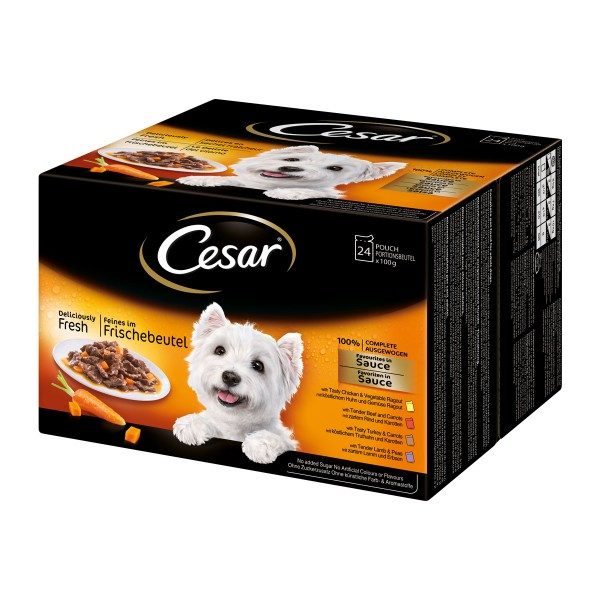 Cesar Multipack Favoriten in Sauce Nassfutter 24x100g