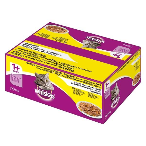 Whiskas Adult 1+ Geflügelauswahl in Gelee 72x100g