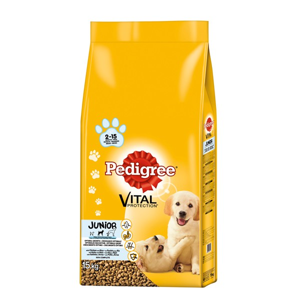 Pedigree Vital Protection Hundefutter Junior Medium mit Huhn & Reis