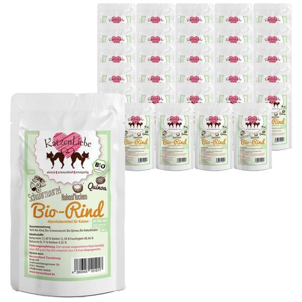 Katzenliebe Bio-Rind mit Bio-Schwarzwurzel, Bio-Quinoa, Bio-Kokosflocken 30x100g