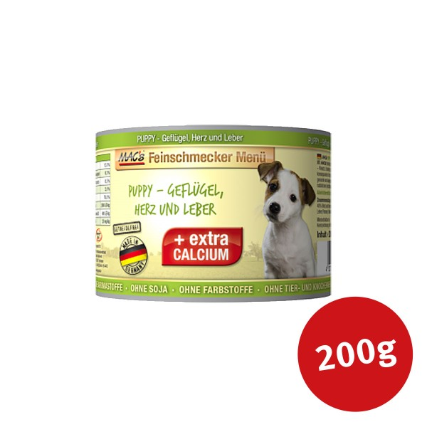 MAC's Dog Hundefutter Feinschmecker Menü PUPPY- Geflügel, Herz und Leber