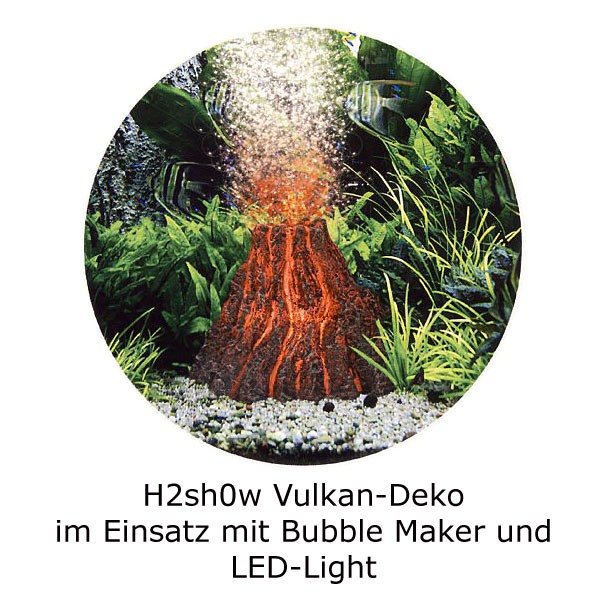 H2show Vulkan Dekoration Set mit LED und Bubble-Maker