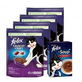 Felix Crunchy & Soft Lamm & Truthahn 4x950g + Soup Rind, Huhn und Lamm 6x48g