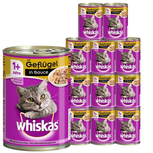 Whiskas Katzenfutter 1+ mit Geflügel in Sauce 12x400g