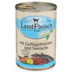 Landfleisch Hunde-Nassfutter Dog Pur Geflügelherzen & Seelachs