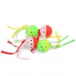 ZooRoyal Rasselbälle mit Bändern 4er Set
