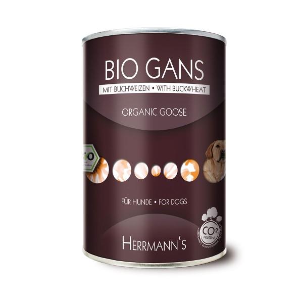 Herrmanns Hundefutter Bio Menü Gans+Buchweizen+Obst+Kokosmilch 12x400g