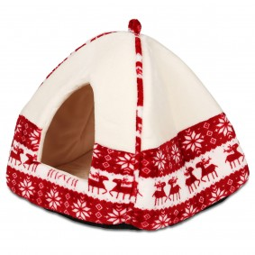 Trixie Xmas Kuschelhöhle Santa 38×35×38cm in rot und creme