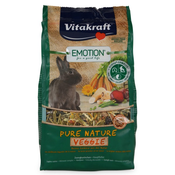 Vitakraft Emotion Pure Nature Veggie Zwergkaninchen 600g