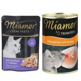 Miamor Feine Filets Thunfisch und Calamari  24x100g PLUS Trinkfein 135ml GRATIS!