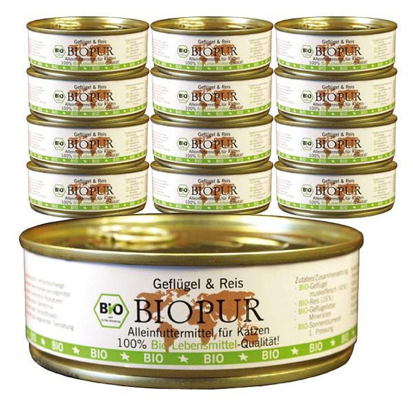 BIOPUR Katzenfutter Bio Geflügel, Reis Glutenfrei 24x200g