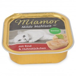 Miamor Katzenfutter milde Mahlzeit Senior Rind und Hühnchenstücke