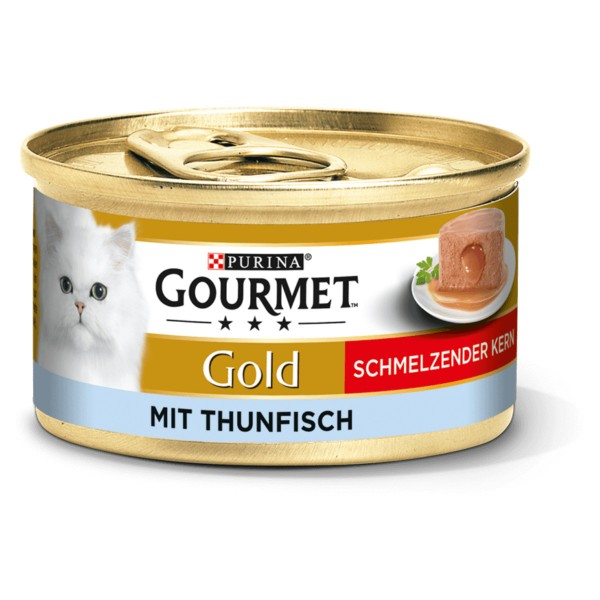 GOURMET Gold Schmelzender Kern Katzennassfutter mit Thunfisch