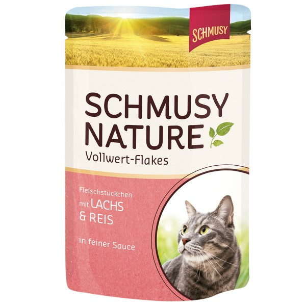 Schmusy Nature Vollwert-Flakes Lachs & Reis 22x100g