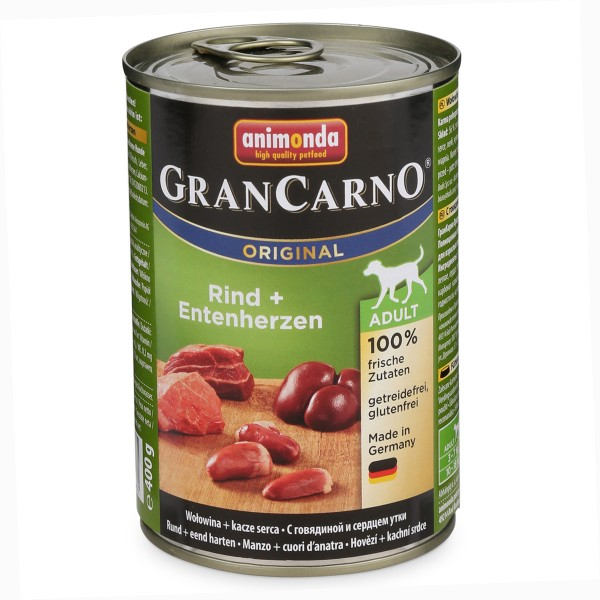 Animonda Hundefutter GranCarno Adult Rind und Entenherzen