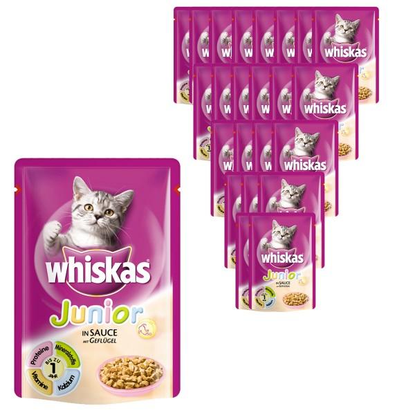 Whiskas Katzenfutter Junior Geflügel in Sauce 24x100g