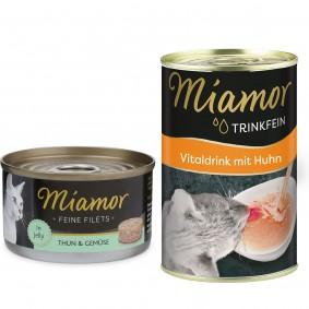 Miamor Katzenfutter Feine Filets in Jelly Thunfisch und Gemüse 24x100g  Trinkfein 135ml GRATIS!