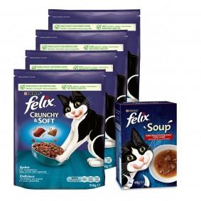 Felix Crunchy & Soft Thunfisch & Seelachs 4x950g + Soup Rind, Huhn, Lamm 6x48g gratis
