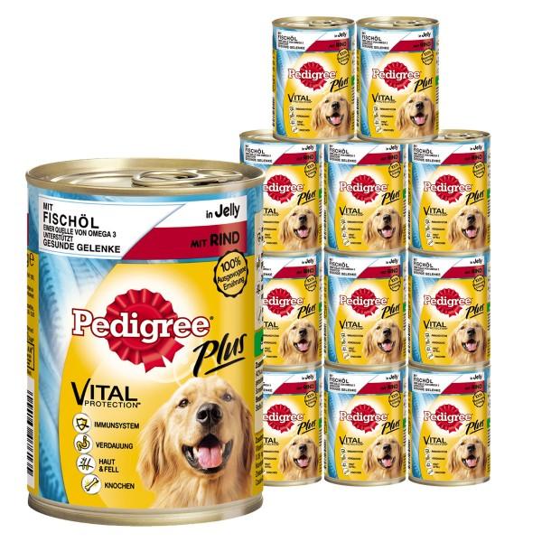 Pedigree Plus Hundefutter mit Fischöl, Rind und Gelee