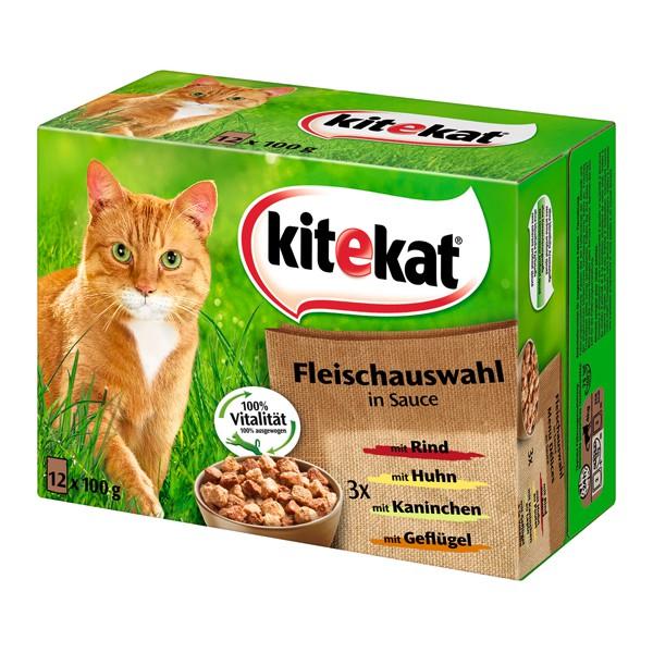 Kitekat Katzenfutter Leckere Fleischauswahl in Sauce 12x100g
