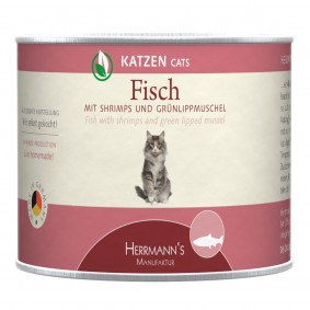 Herrmanns Katzenfutter Fisch mit Shrimps und Bio Grünlippmuschel 12x200g