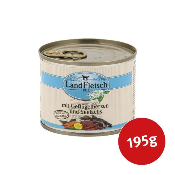 Landfleisch Hundefutter Dog Pur Geflügelherzen & Seelachs