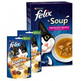 FELIX Soup Rind, Huhn, Thunfisch 48x48g + Felix Knabber Mix 2x60g gratis