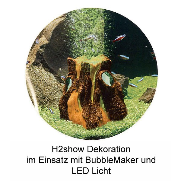H2show Baumstamm Dekoration Set mit LED und Bubble-Maker
