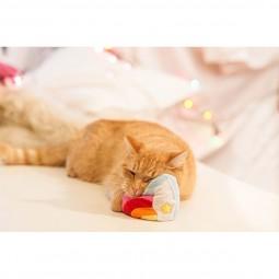 Aumüller Regenbogen Herz Katzenspielkissen aus Schmuseplüsch