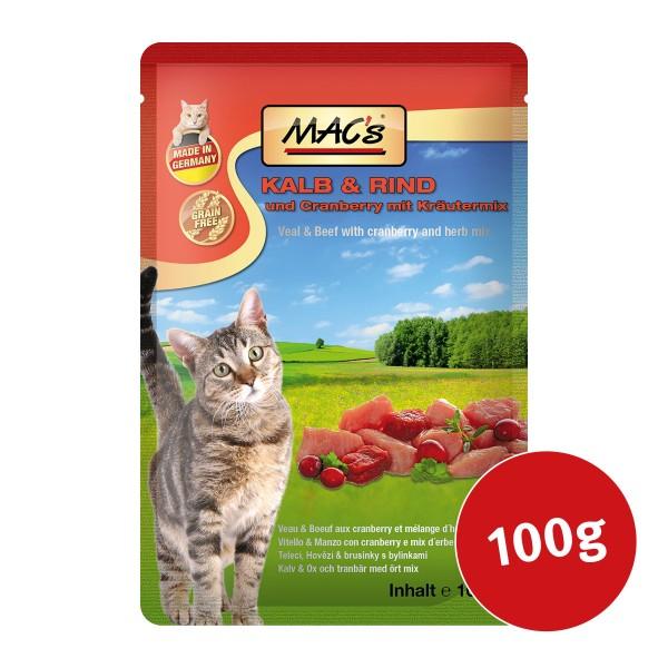 MAC's Cat Katzenfutter Pouchpack Kalb, Rind und Cranberry