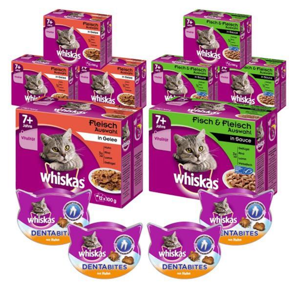 Whiskas Senior Bundle Fleisch- und Fischauswahl 96x100g + Dentabites mit Huhn 4x40g